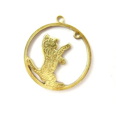 brass playful cat pendant