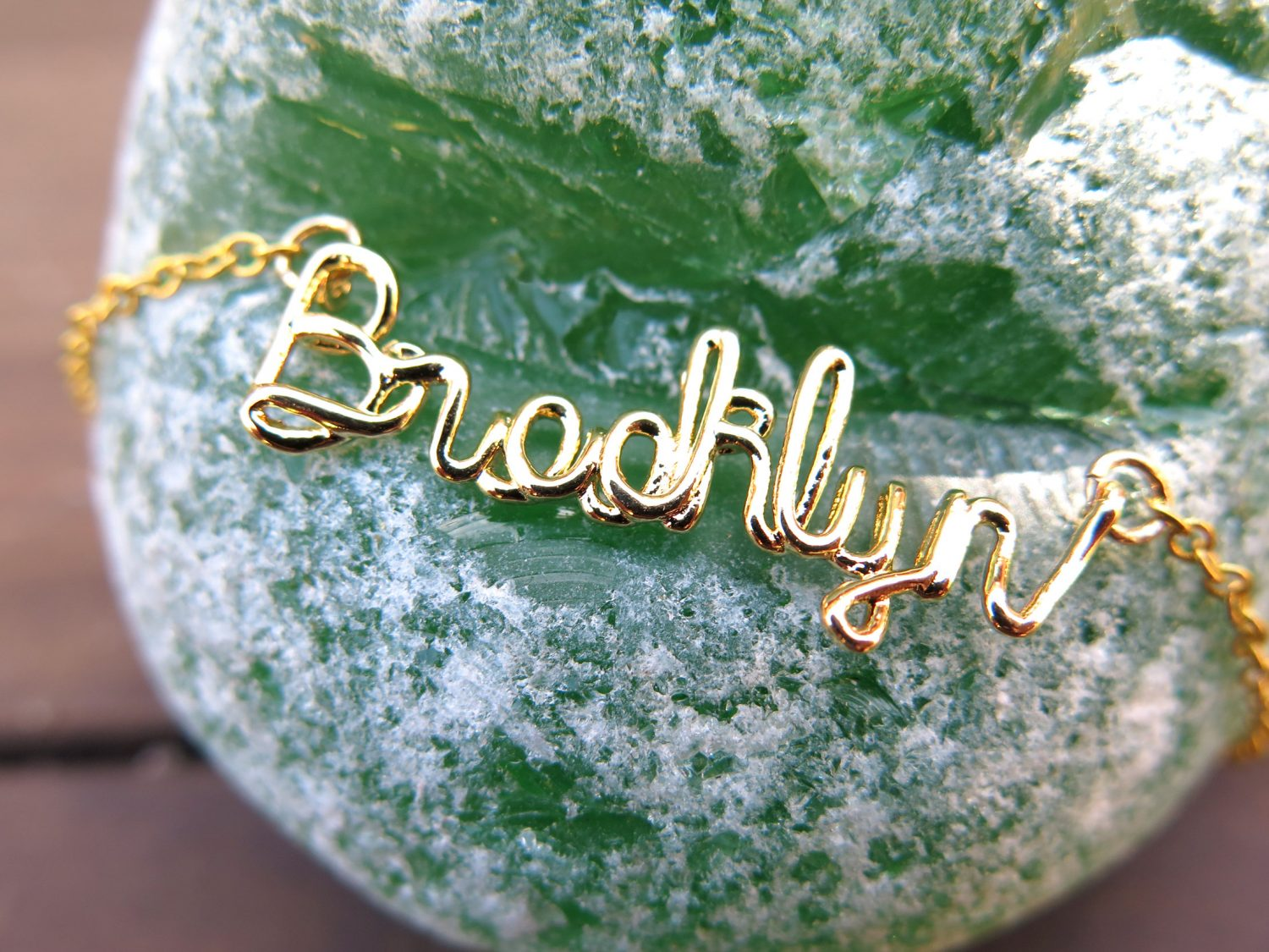 Brooklyn Wire Name Necklace - Brass - Gold Plated - Rhodium Plated ...