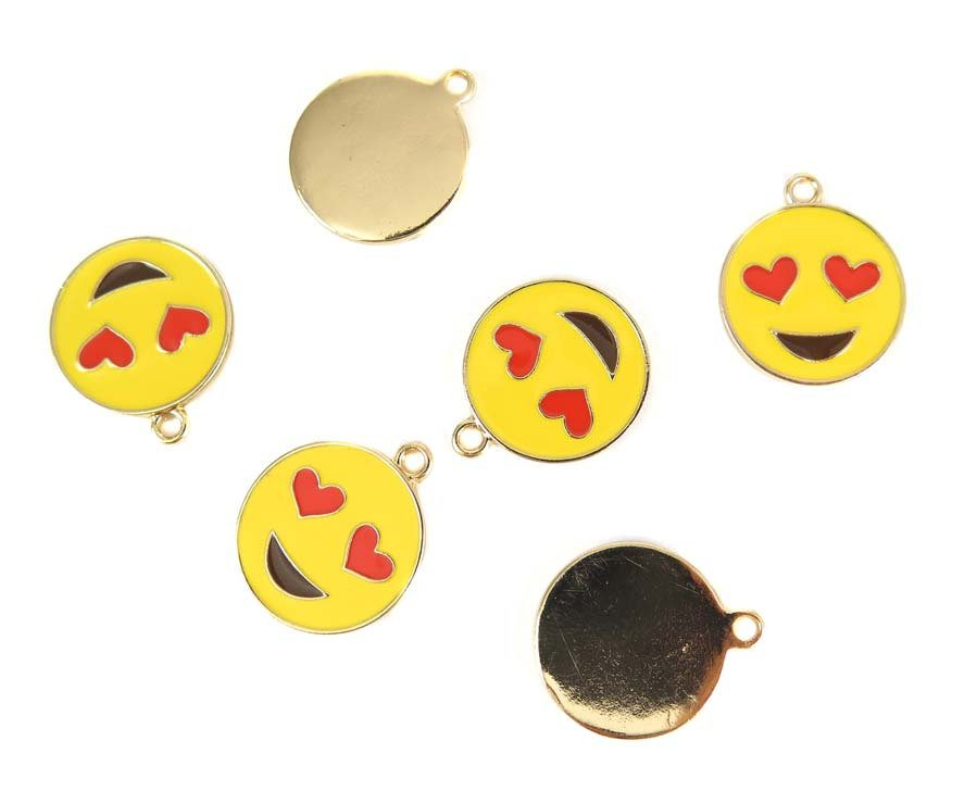 Smiley Face with Heart Eyes Charms
