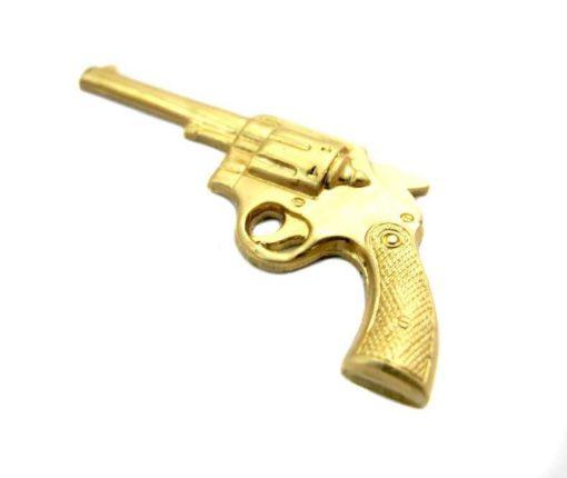 Large Brass Pistol Gun Charm - no hole