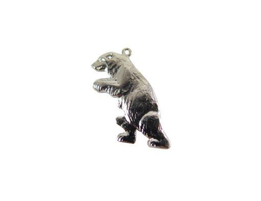 Rhodium Plated Walking Bear Charms