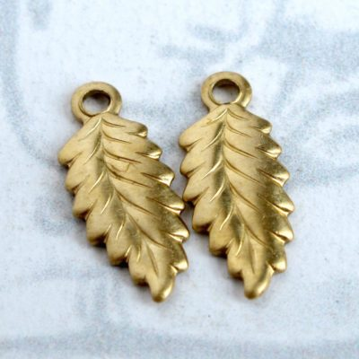 Tiny Brass Leaf Charms