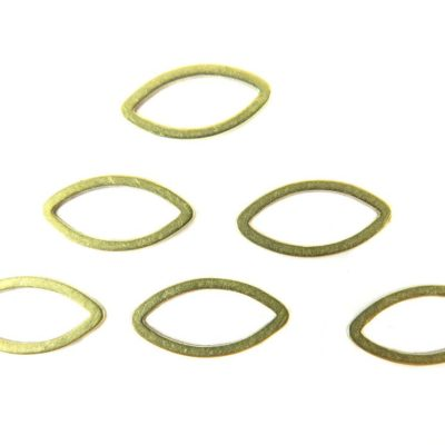 Tiny Raw Brass Pointed Oval Shape Wire Charms