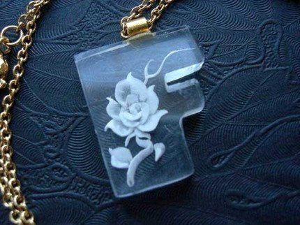 Vintage Acrylic Plastic Letter - B F G R- Necklace with a Carved Flower - You Choose