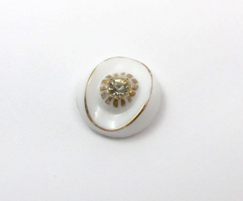 Vintage White Class Cabochons with Gold Foil Detail and ...