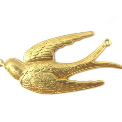 Brass Flying Sparrow Bird Pendant