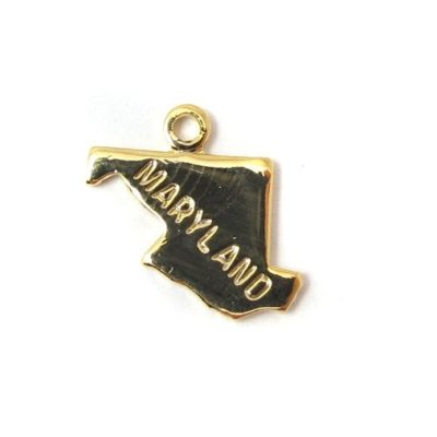 Engraved Tiny GOLD Plated on Raw Brass Maryland State Charms