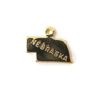 Engraved Tiny GOLD Plated on Raw Brass Nebraska State Charms