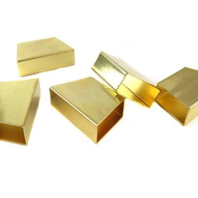 Gold Plated Geometric Tube Bead Pendants
