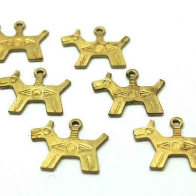 Brass Native American dog charms