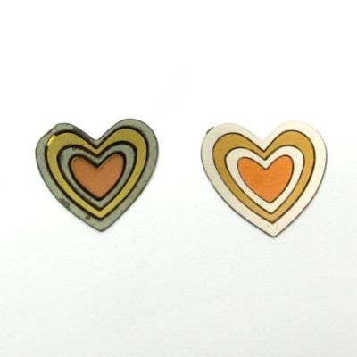 vintage tri tone brass heart cabochons