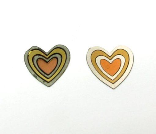 vintage tri tone brass heart cabochons