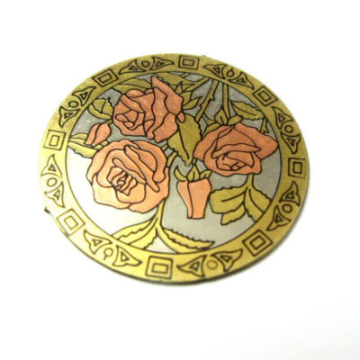 vintage brass enamel rose pendants with no bail