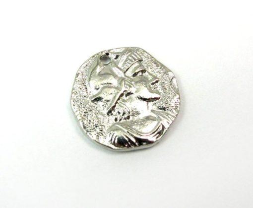 silver plated ancient European coin charm