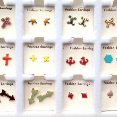 colorful collection of vintage enamel stud earrings with misc. shapes