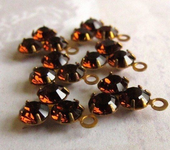 Vintage Swarovski Topaz Triangle Drop Charms
