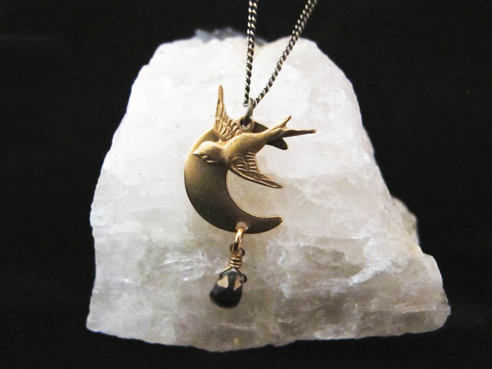 Night Bird Flying Sparrow Over Crescent Moon With Natural Stone Necklace Brooklyn Charm