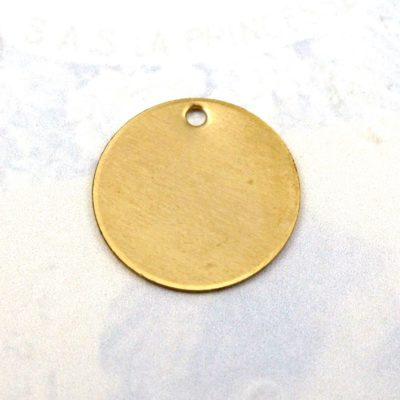 Raw Brass Engraving Circle Charms - with hole