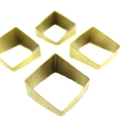 Raw Brass Tapered Square Tube Charms