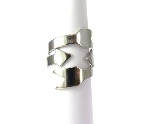 Rhodium Plated Arrow Adjustable Engraving Ring Findings