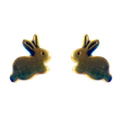 Tiny Brass Bunny Charms (no bail)