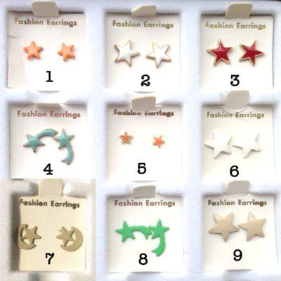 Vintage Enamel Stud Earring Star Collection - You Choose