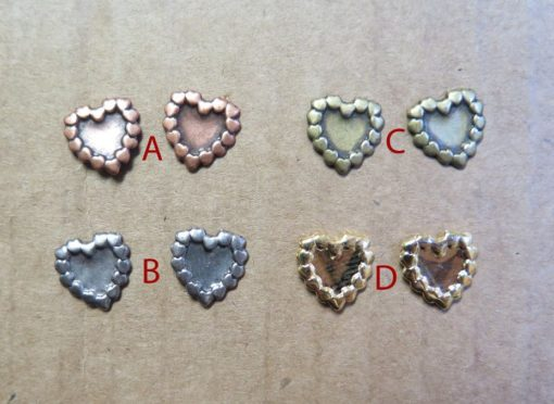Vintage Plated Stud Earrings - Heart of Hearts antiqued brass