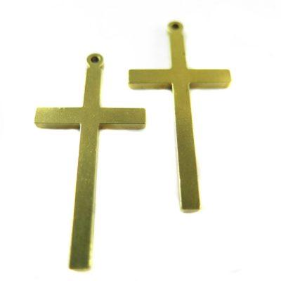 Vintage Raw Brass Engraving Cross Pendants (