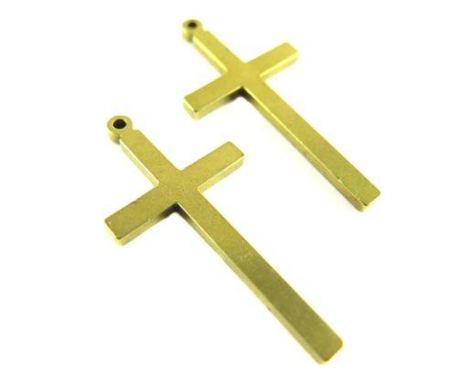 Vintage Raw Brass Engraving Cross Pendants
