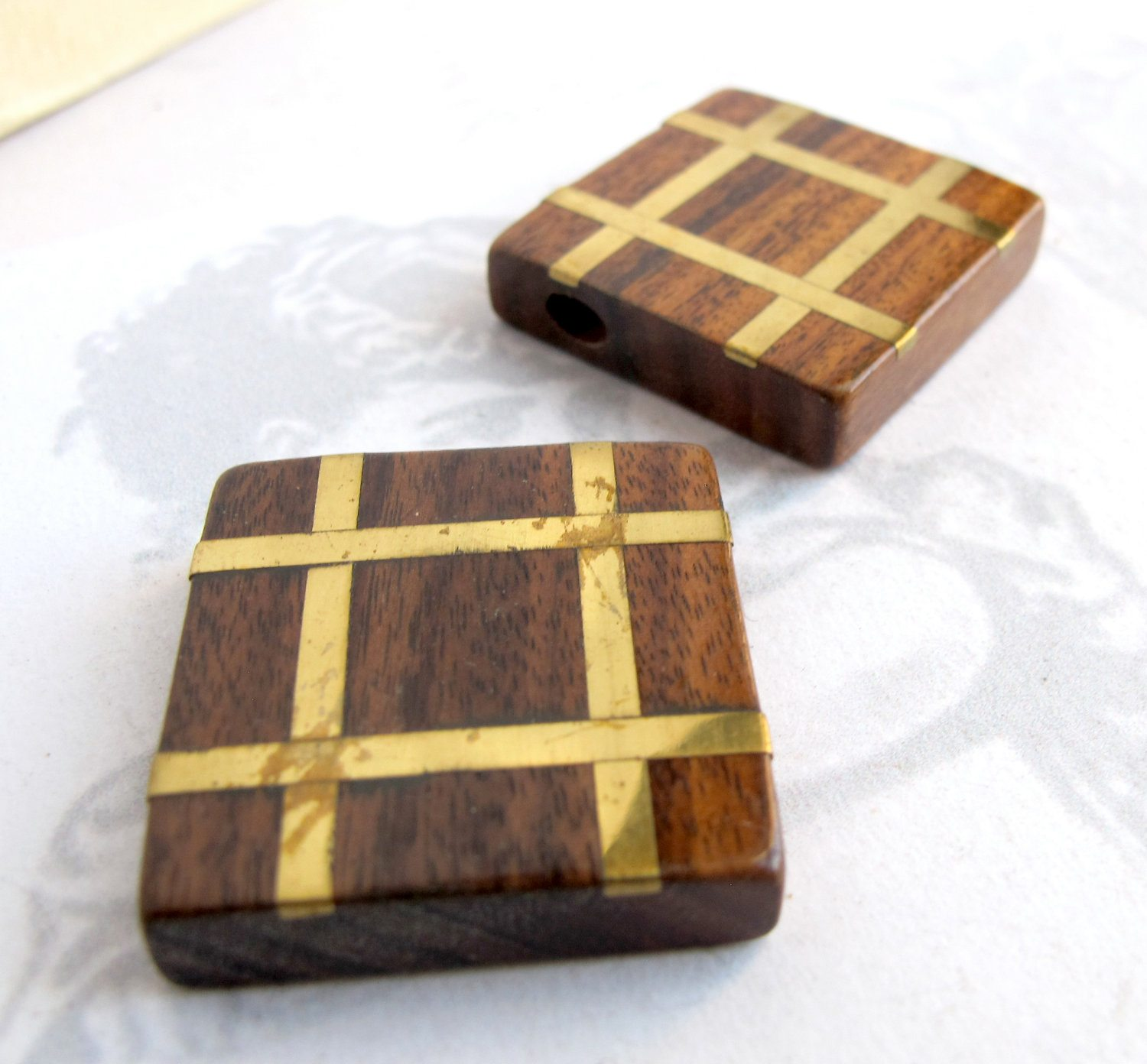 Vintage Square Tic Tac Toe Wooden Bead Pendants With Brass Inlay