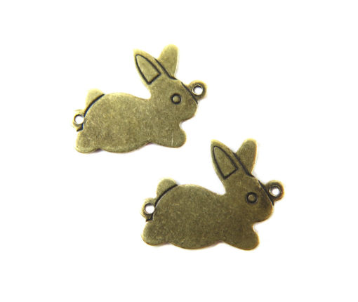 antiqued brass double bail bunny charms