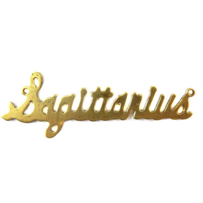 Brass Astrological Name Plate Pendants - Sagittarius