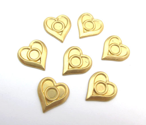 Brass Heart Stamping with Center Bezel