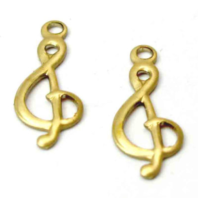 Brass Treble Clef Music Note Charm
