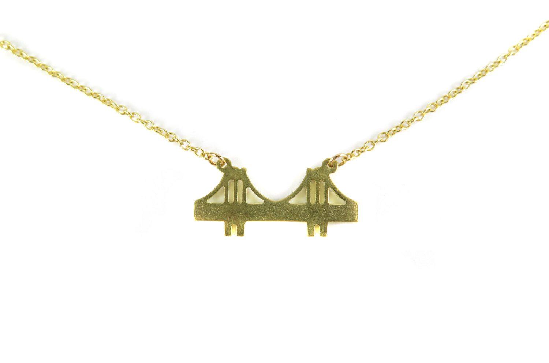 Brooklyn bridge pendant necklace blank raw brass rhodium or brooklyn bridge pendant necklace aloadofball Images