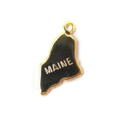 Engraved Tiny GOLD Plated on Raw Brass Maine State Charms