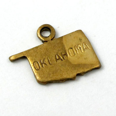 Engraved - Tiny Raw Brass Oklahoma State Charms