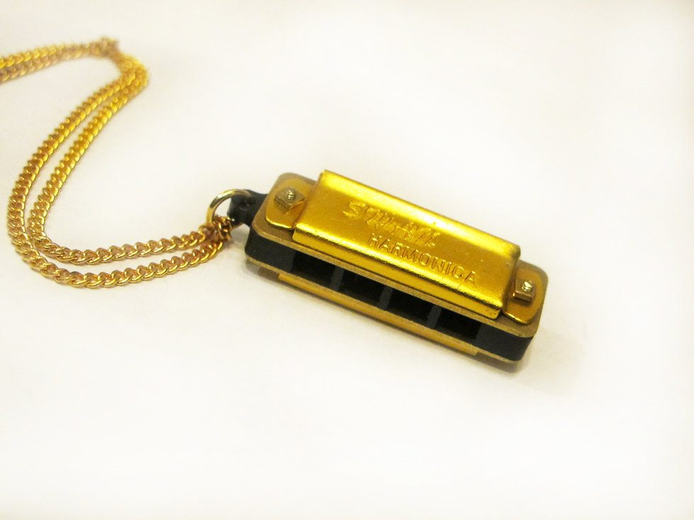 Gold harmonica musical pendant necklace brooklyn charm gold harmonica musical pendant necklace aloadofball Choice Image