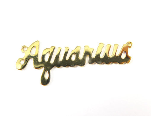 Gold Plated Astrological Name Plate Pendants - Aquarius