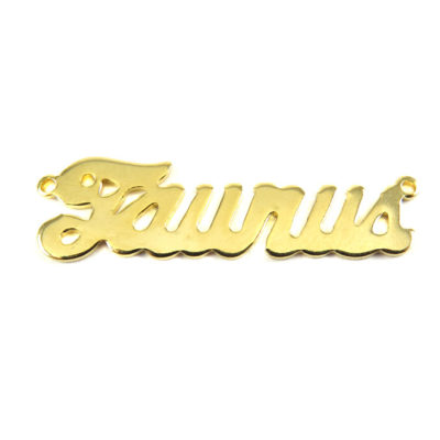 Gold Plated Astrological Name Plate Pendants - Taurus