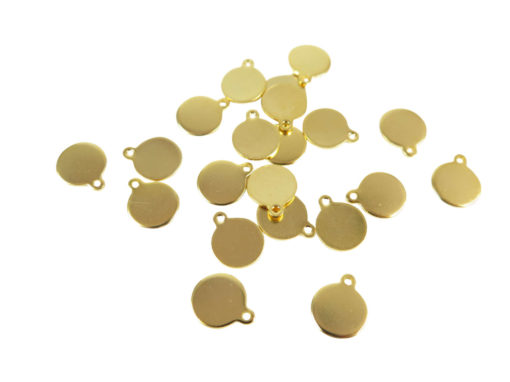 Gold Plated Engraving Circle Charms