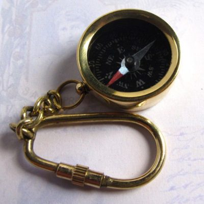 Raw Brass Working Compass Key Chain / Pendant