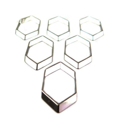 Rhodium Plated Geometric Honeycomb Shaped Charms