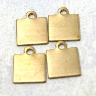 Small Brass Engraving Square Charms