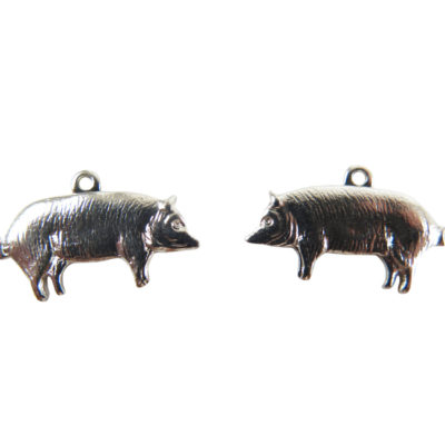 Small Rhodium Plated Pig Charms - Mirrored