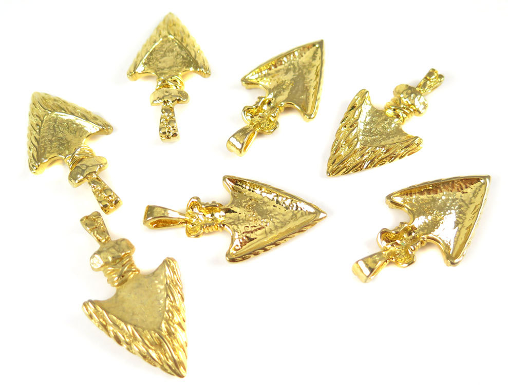 Vintage gold plated arrowhead pendants 2x v324 brooklyn charm vintage gold plated arrowhead pendants aloadofball Choice Image