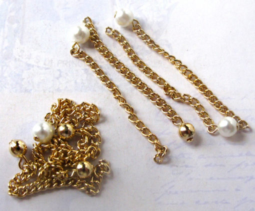 Vintage Gold Plated Curb Chain Charms with Plastic Faux Pearl And Metal Beads - Chain Extender