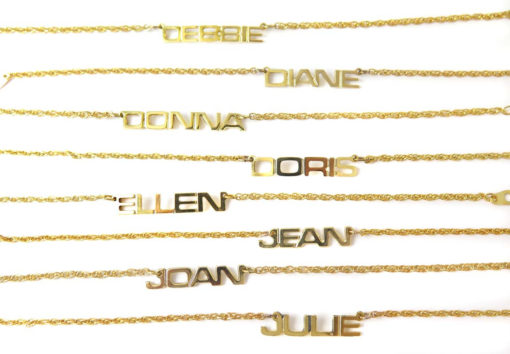 Vintage Gold Plated Name Plate Bracelet - You Choose - (1x) (J810) - Debbie - Diane - Donna - Doris - Ellen - Jean - Joan - Julie