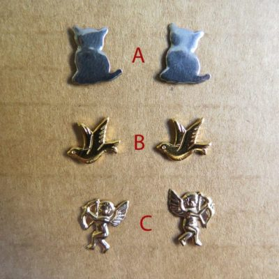 Vintage Gold Plated Stud Earrings - Cat - Dove - Cherub