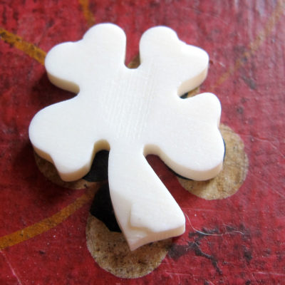 Vintage Hand Carved Bone - Four Leaf Clover Charms / Beads
